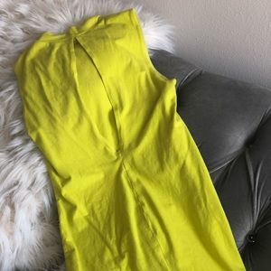 Sleeveless Lime Green High Neck Dress w/ back out